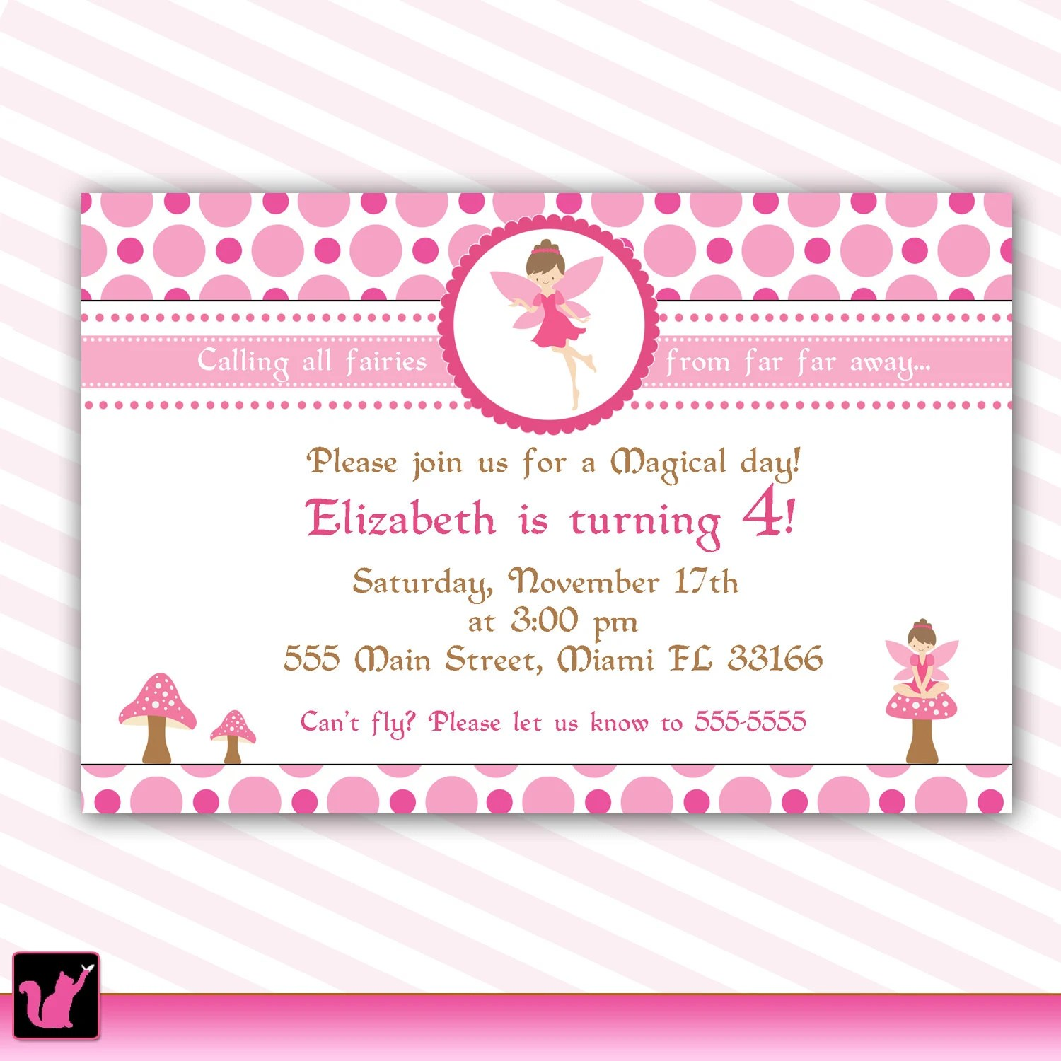 Pixie Fairy Birthday Invitation Card for Girl Printable Etsy