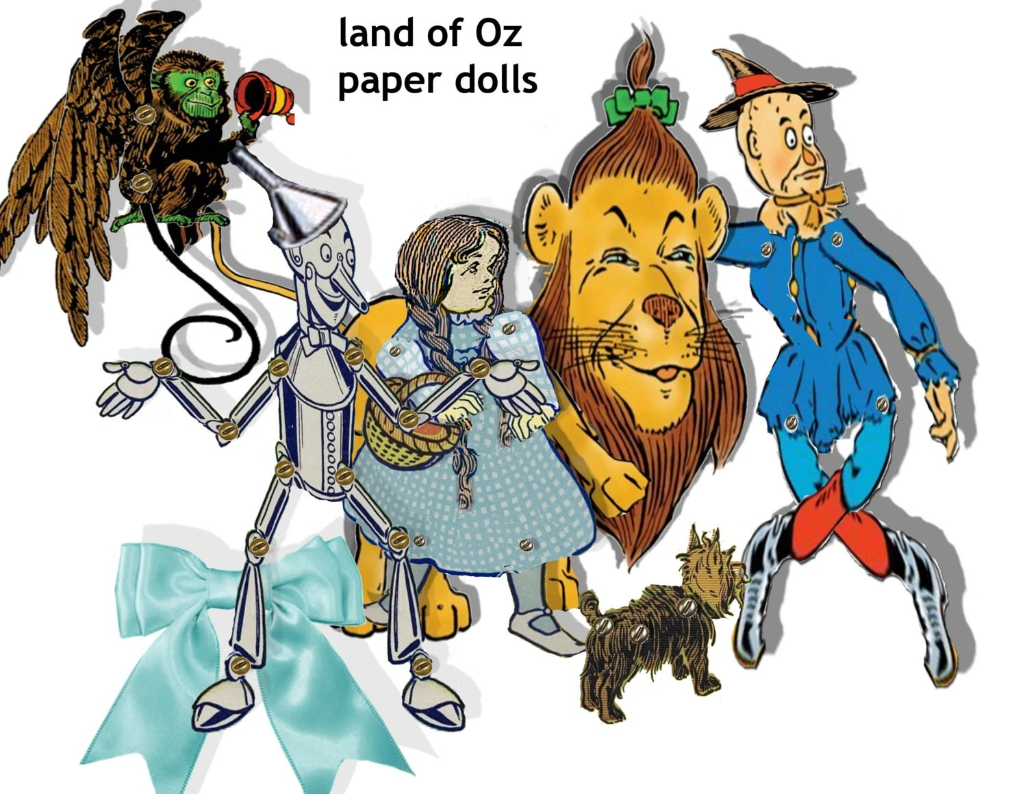 Wizard of OZ printable articulated paper dolls yellow brick Etsy