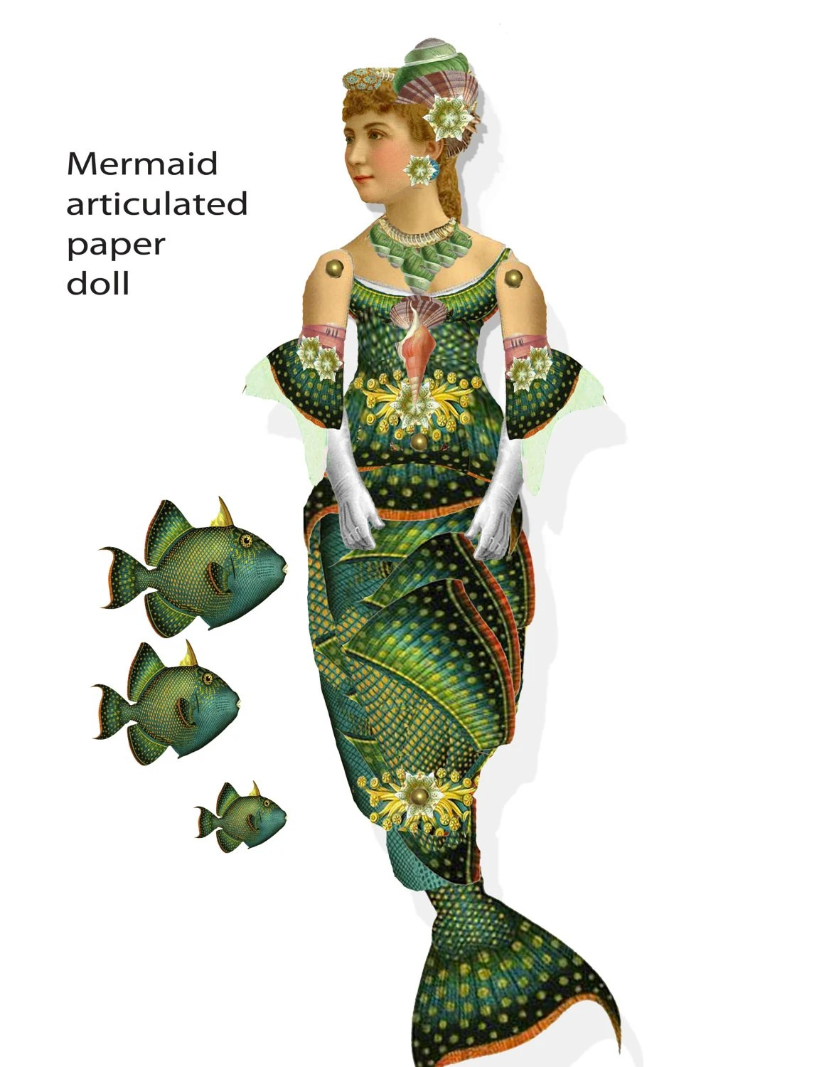 printable Mermaid articulated paper doll download printable Etsy