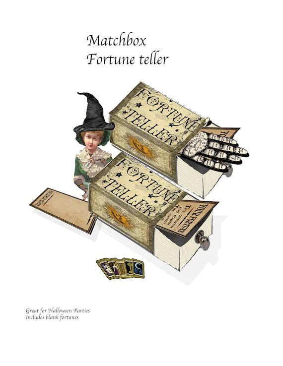 Printable Fortune Teller matchbook template and clip art to Etsy