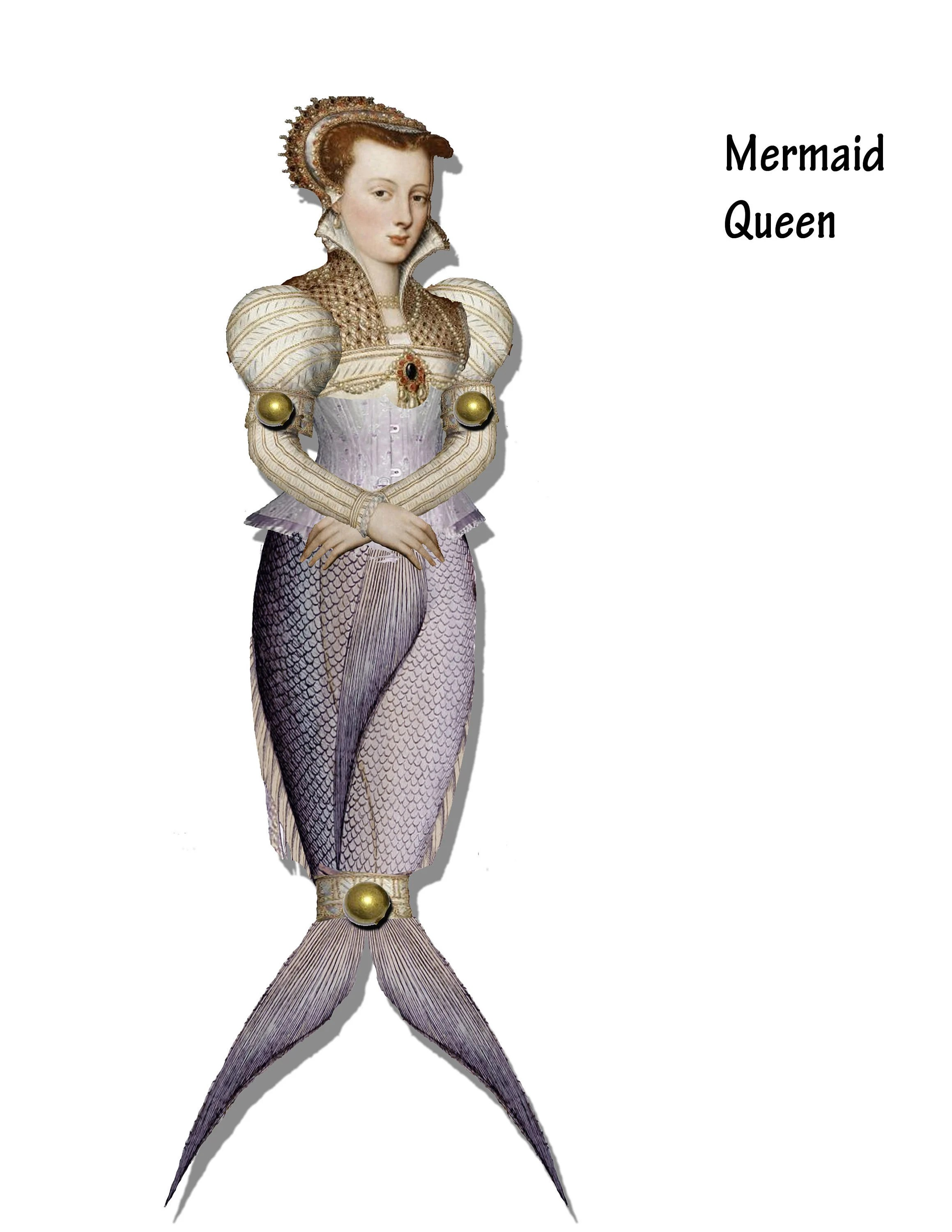 printable Mermaid Queen of the sea articulated paper doll Etsy