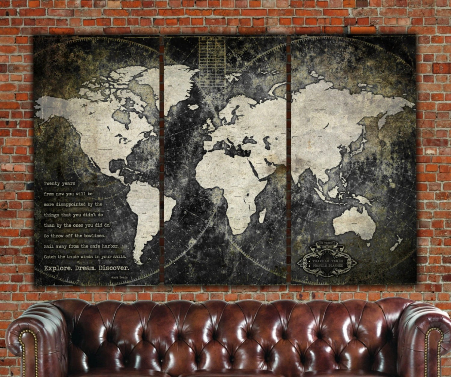 Industrial Vintage Industrial World Map On Canvas Vintage Map Large Wall Art Industrial Art World Travel Map Personalized Map Custom Quotes Black