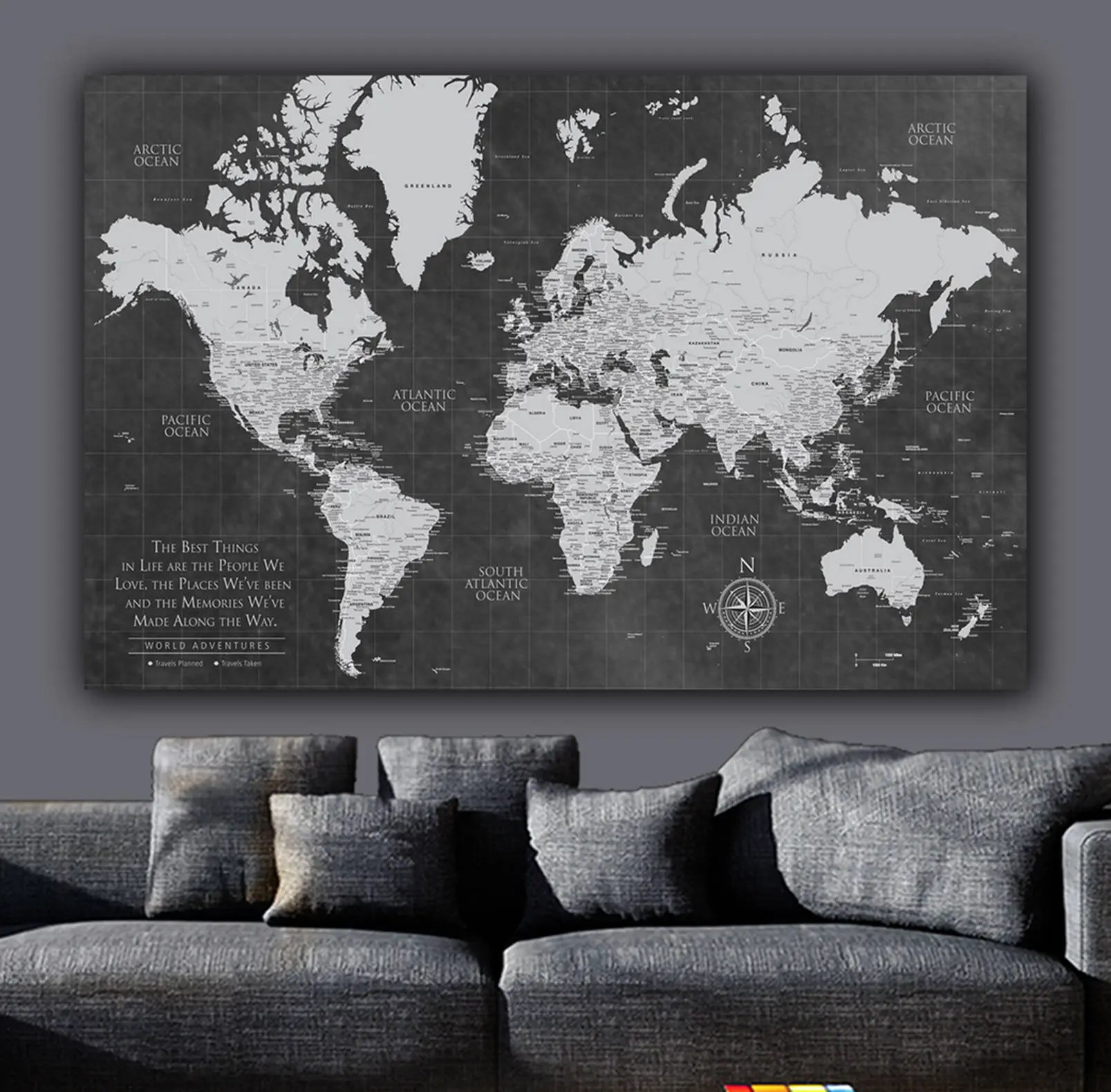 Current Push Pin World Map Personalized 1-Panel Canvas Custom - pinnable world map