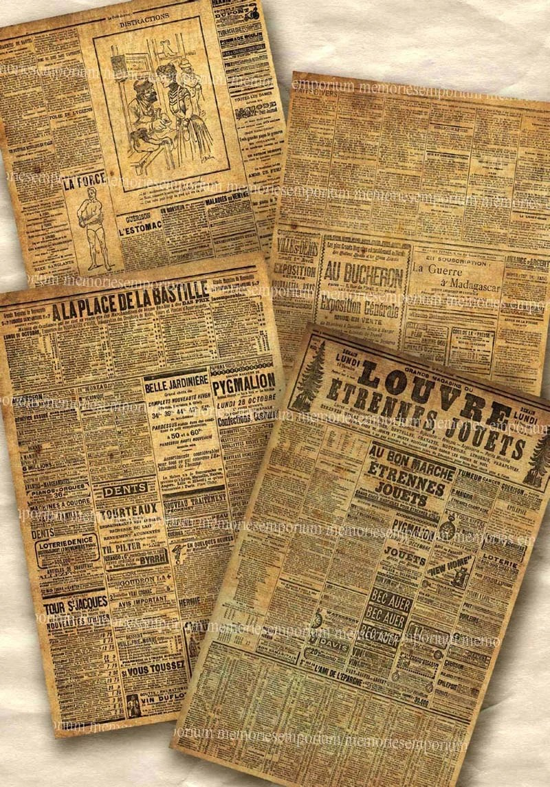 Etsy France Avis Shabby Old Paris Newspapers Postcard Size Papers Chic Decoupage Newsprint Backgrounds France Grunge Printable Collage Sheet Download 198