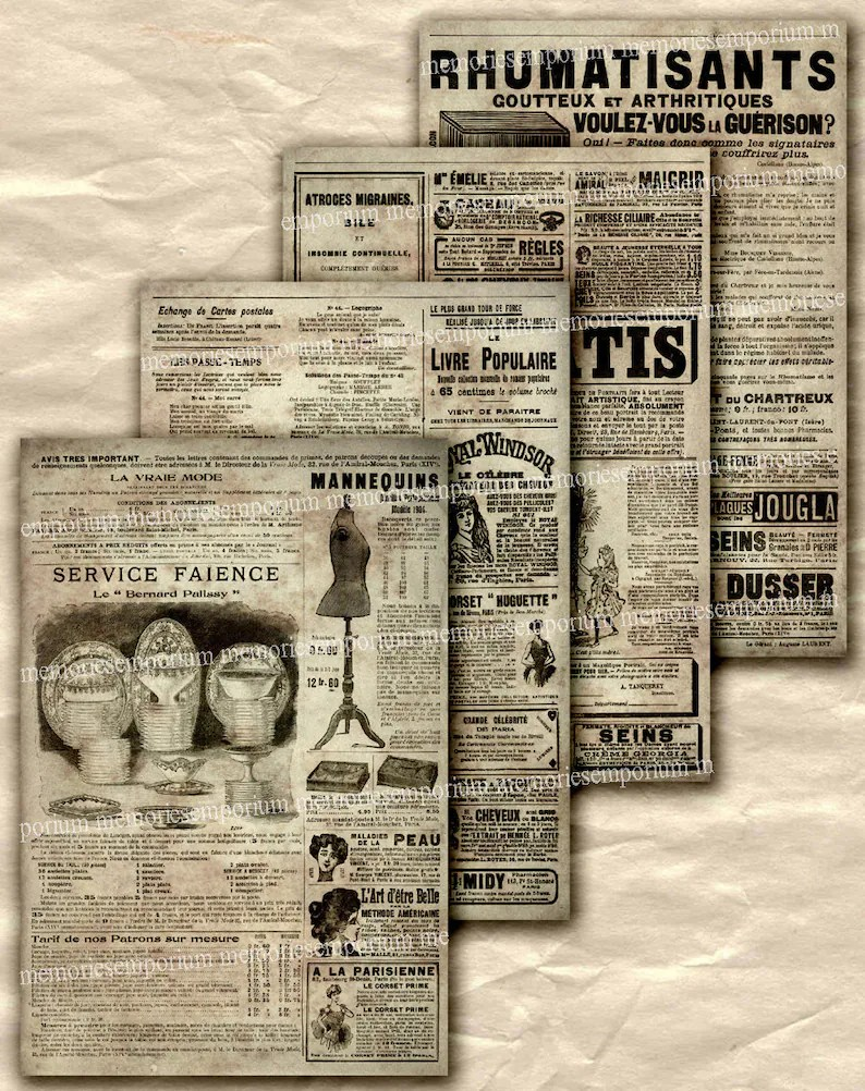 Etsy France Avis Old French Newspaper Ads Advertisements Paris Newsprint Antique Pages Decoupage Background Art Print 4 Digital Collage Sheet Downloads 436
