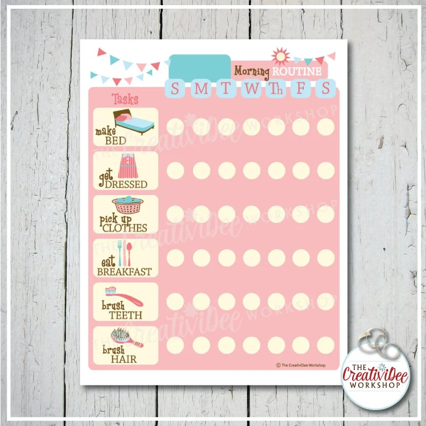 Morning Routine Chart Daily EDITABLE NAME Printable Etsy