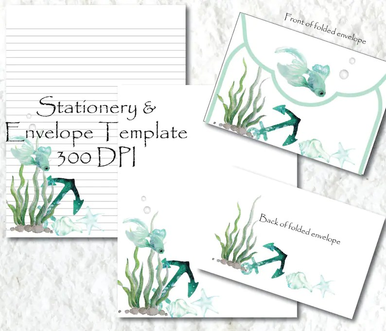 Ocean Fish Printable Stationery Paper Printable Stationary Etsy