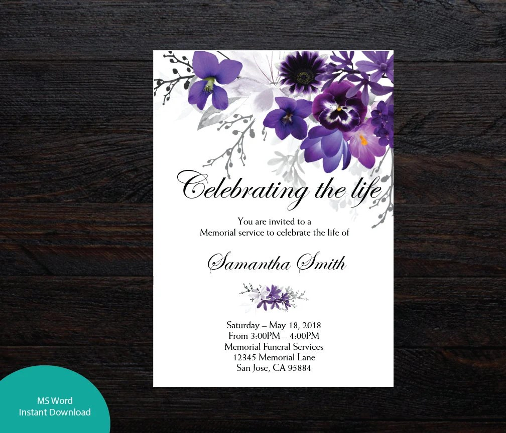 Violet Floral Funeral Announcement Celebration of life Etsy