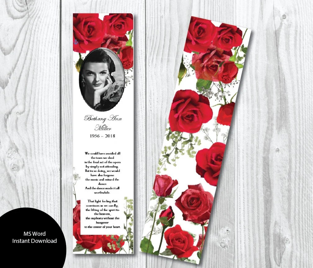 DIY Red Roses Funeral Bookmark Template Memorial Bookmark Etsy