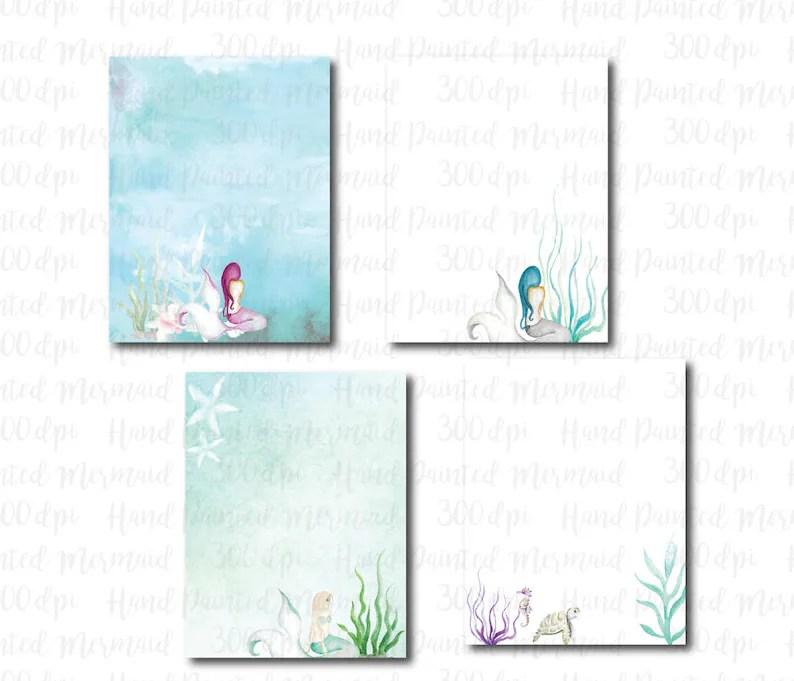 Watercolor Mermaid Digital Paper Stationery Sea Ocean Paper Etsy