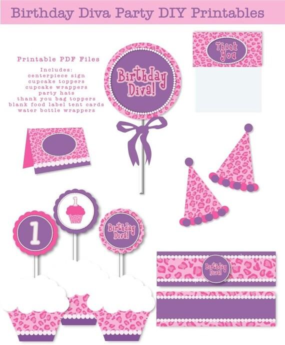 INSTANT DOWNLOAD First Birthday Diva Purple Pink Leopard Pearls
