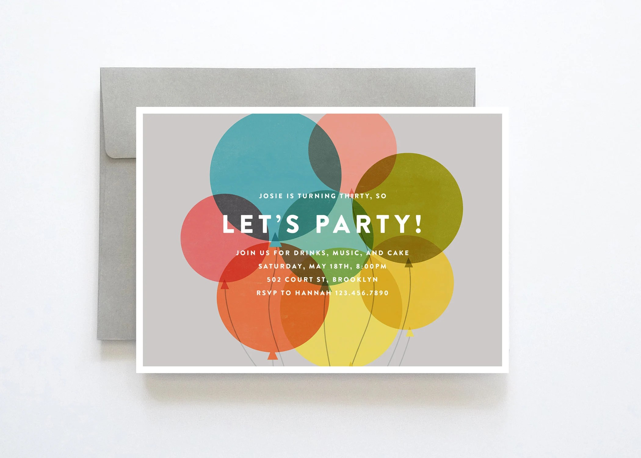 Colorful Birthday Party Invitation Party Invitations Etsy