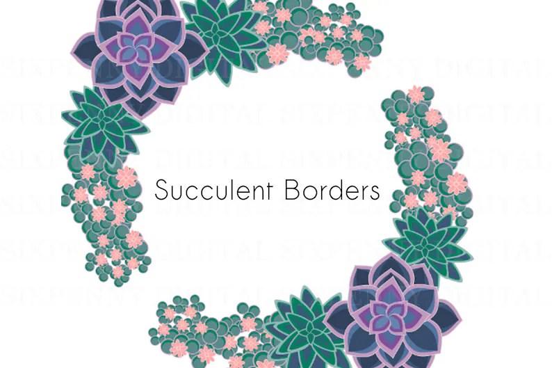 Succulent Border Clipart Printable Succulent Clipart Etsy