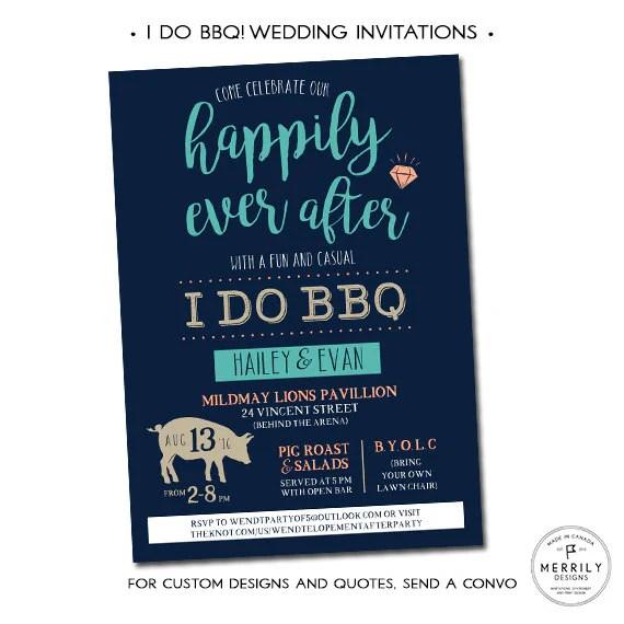 I Do BBQ Wedding Invitations, Casual Wedding Invitation, Engagement Party  Invitation, Elopement Reception Invitation, Fully Customizable