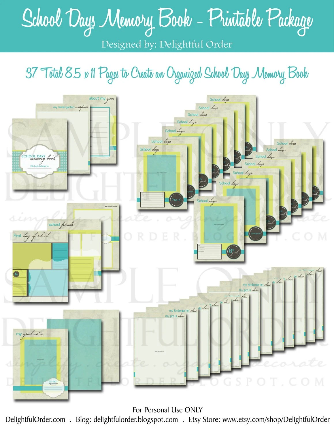 8 1/2 x 11 Boys School Days Memory Book 37 pages PDF Etsy
