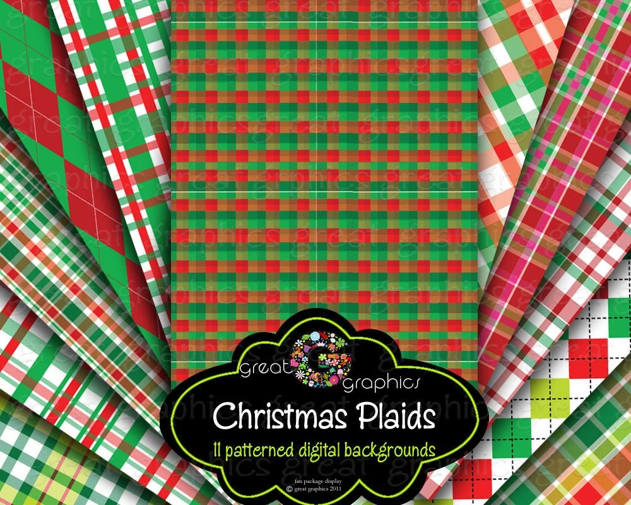 Christmas Plaid Paper Printable Christmas Digital Paper Red Etsy