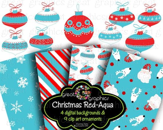 Christmas Clip Art Retro Christmas backgrounds, printable red aqua
