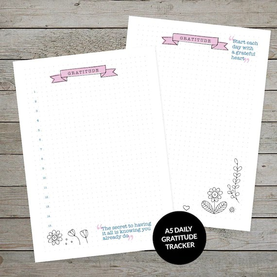 Printable Gratitude Tracker - Bullet Journal Template - Planner