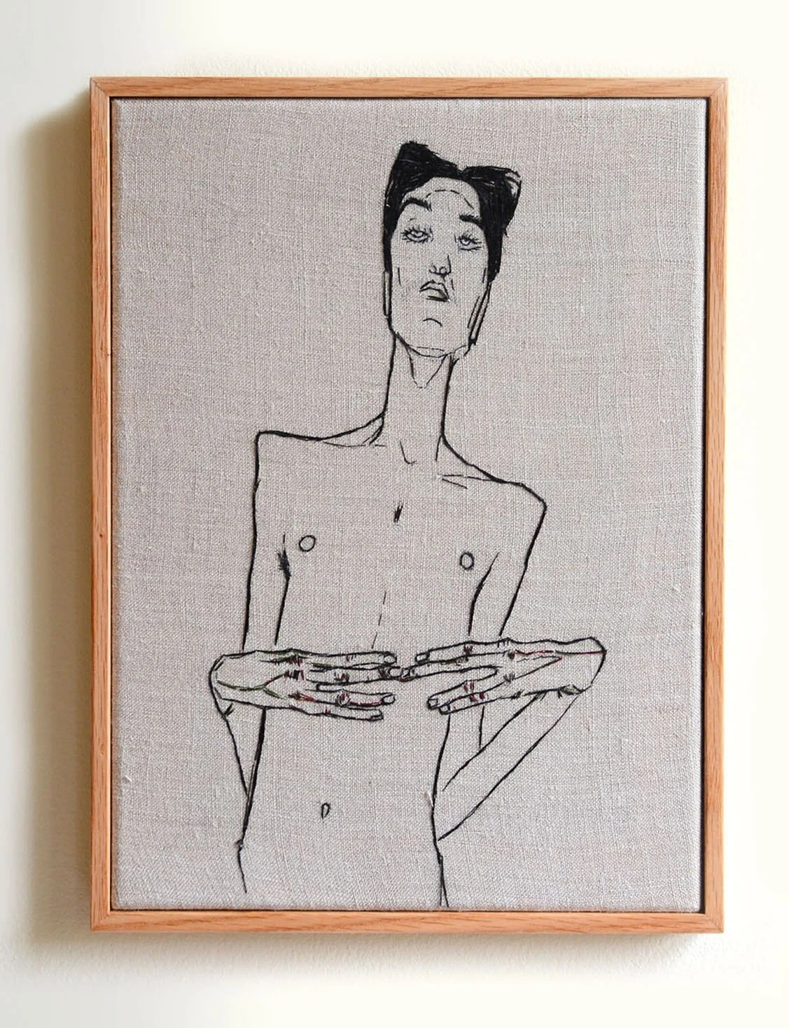 Egon Schiele Libro Egon Schiele Male Hand Embroidered Art Framed With Wooden Frame In Stock