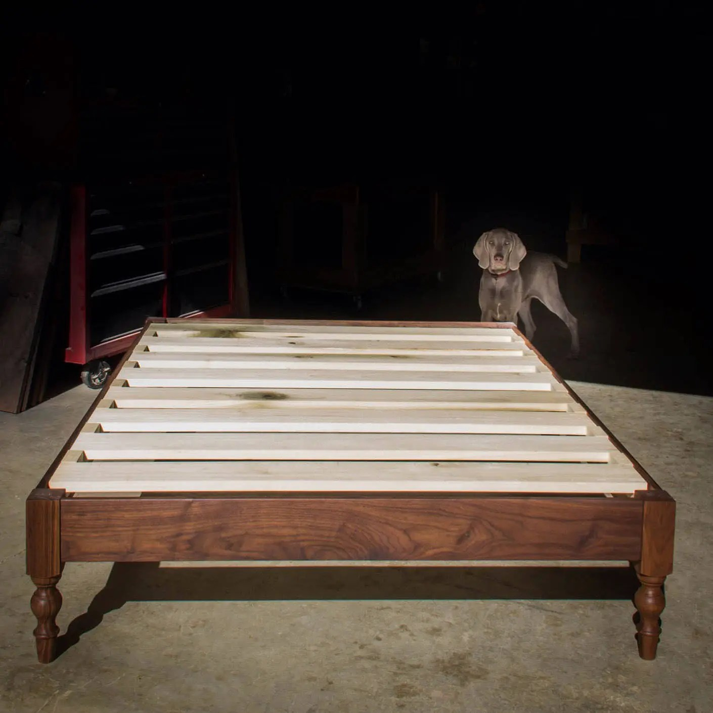 Under Bed Storage Frame Walnut Hardwood Libby Platform Bed Frame Turned Legs Shipping Included Slats Optional