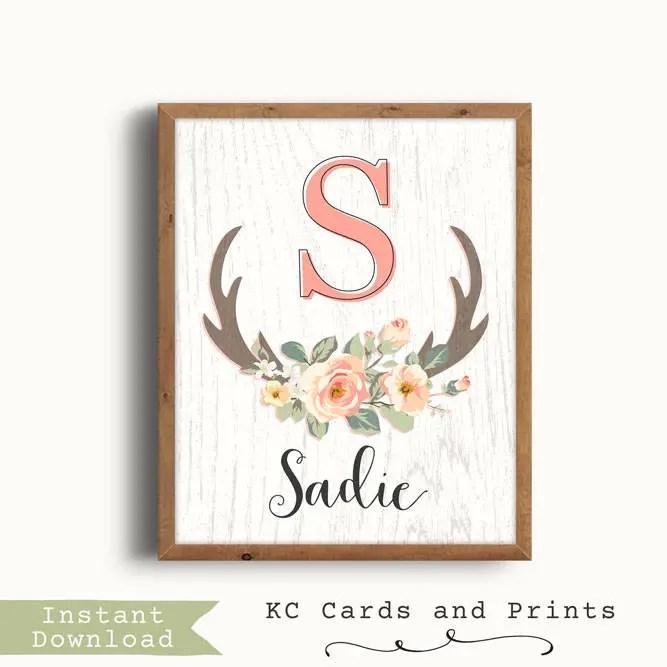 Printable Baby Name Signs Sadie Name Art S Nursery Etsy