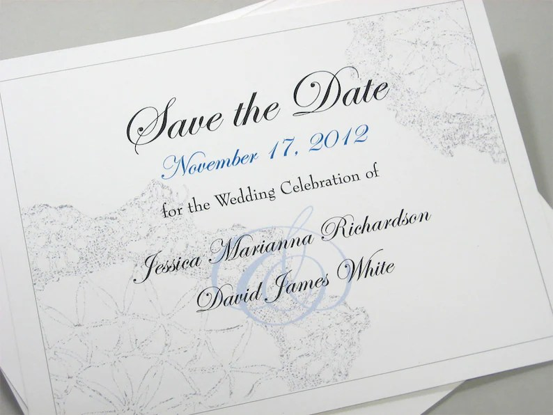Elegant Save the Date Cards Custom Traditional Vintage Lace Etsy