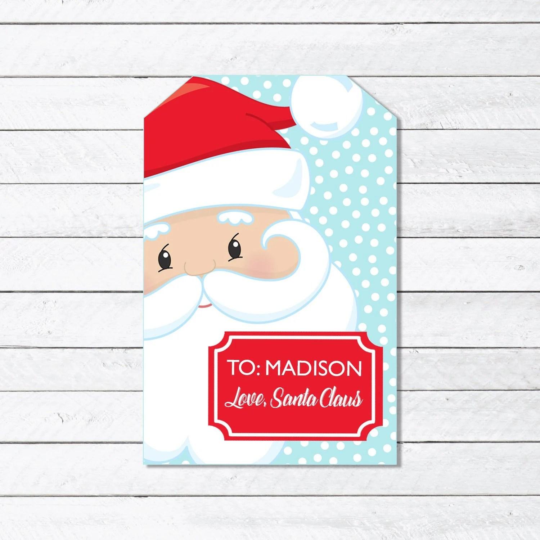 Santa Claus Present Gift Tag Printable Christmas Gift Tags Etsy