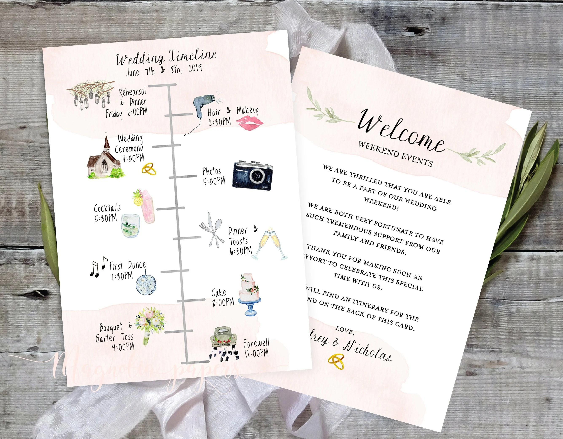 Wedding Timeline Editable Timeline Printable Wedding Etsy
