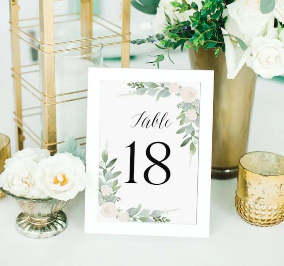 Greenery Table Numbers Template, Wedding Table Numbers Printable, 1