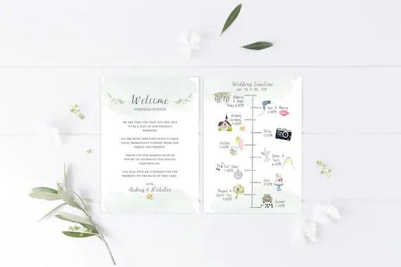 Wedding Timeline, Editable Timeline, Printable Wedding Schedule