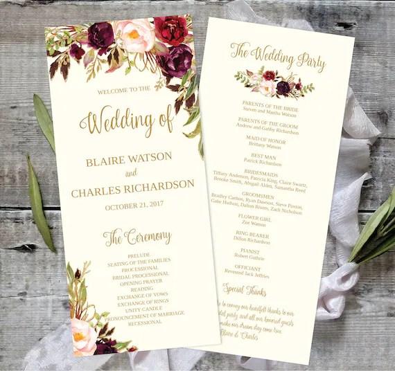 Wedding Program Template Printable / Editable 4x9 - Fall Floral