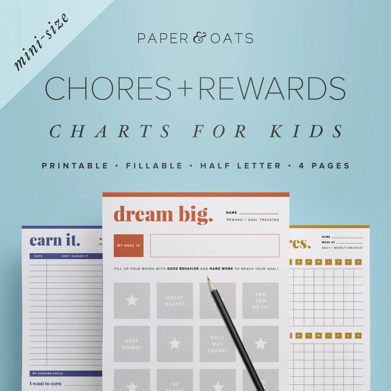 Mini Kids Chores List Kids Chore Chart Cleaning Checklist Etsy