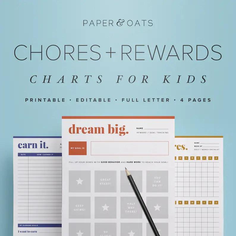Kids Chores Charts Kids Chore List Behaviour Chart Job Etsy