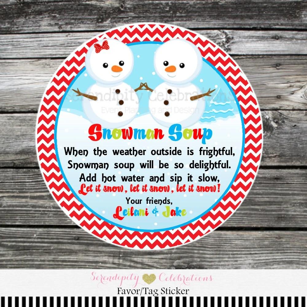 Snowman Soup favor tags, Snowman Soup Stickers, hot chocolate labels