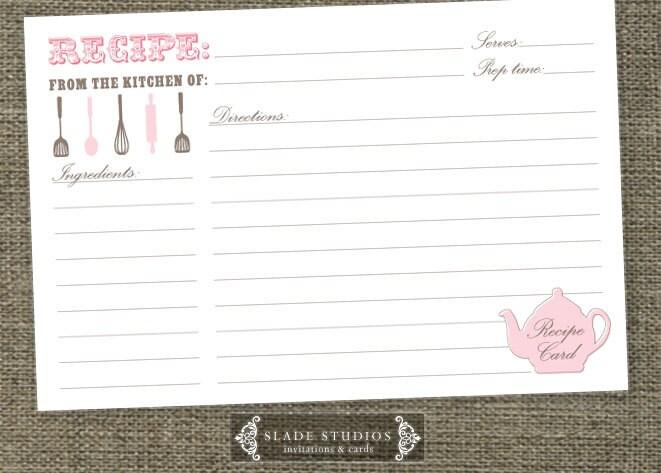 Kitchen Tea \u0027Teapot\u0027 shower Recipe Cards Printable Etsy