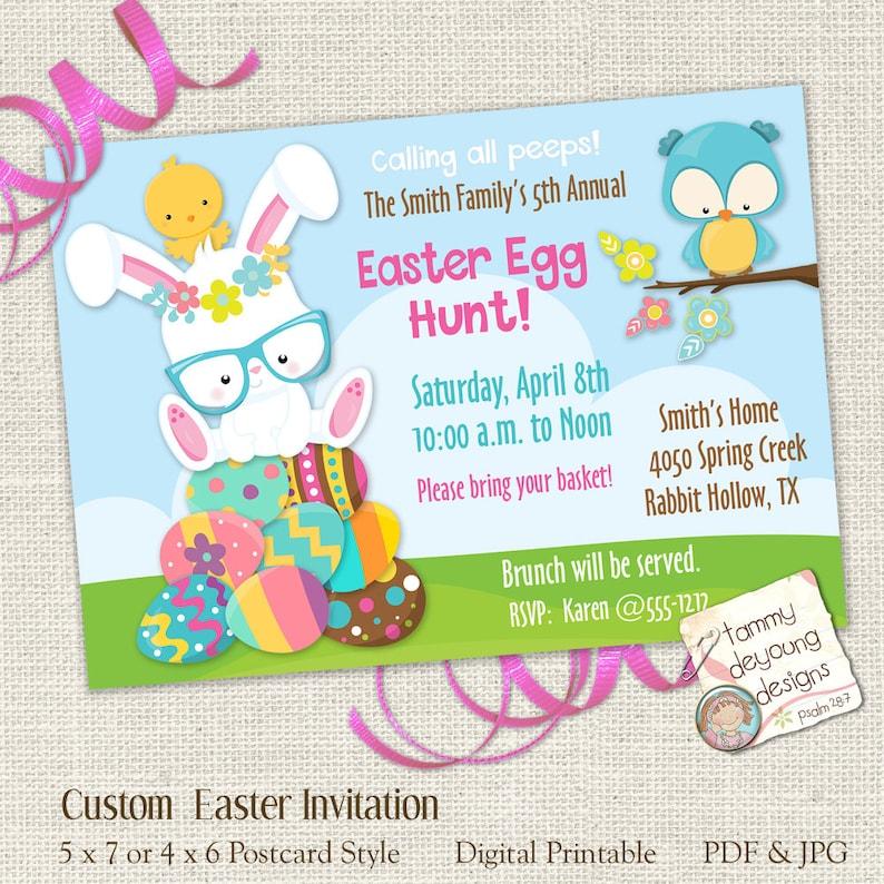 Printable Easter Egg Hunt Invitation Easter Party for Kids Etsy
