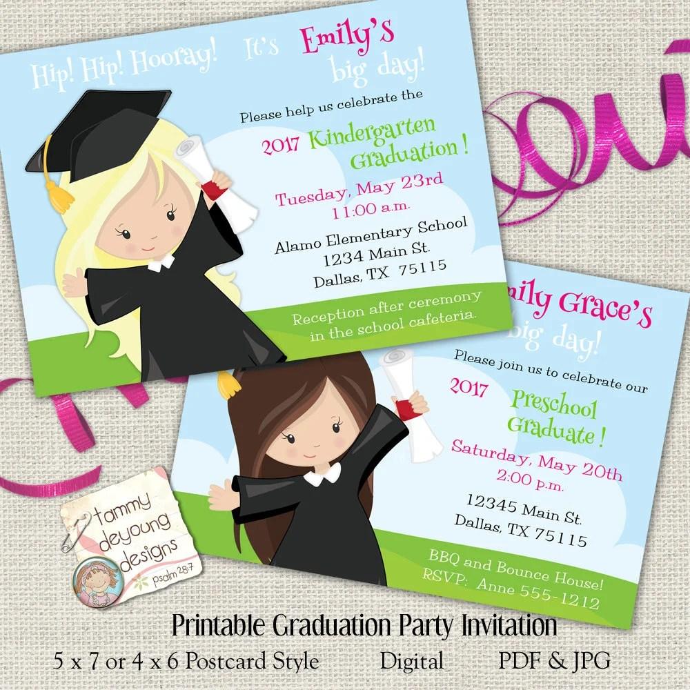 Girls Graduation Invitation Preschool Graduation Etsy