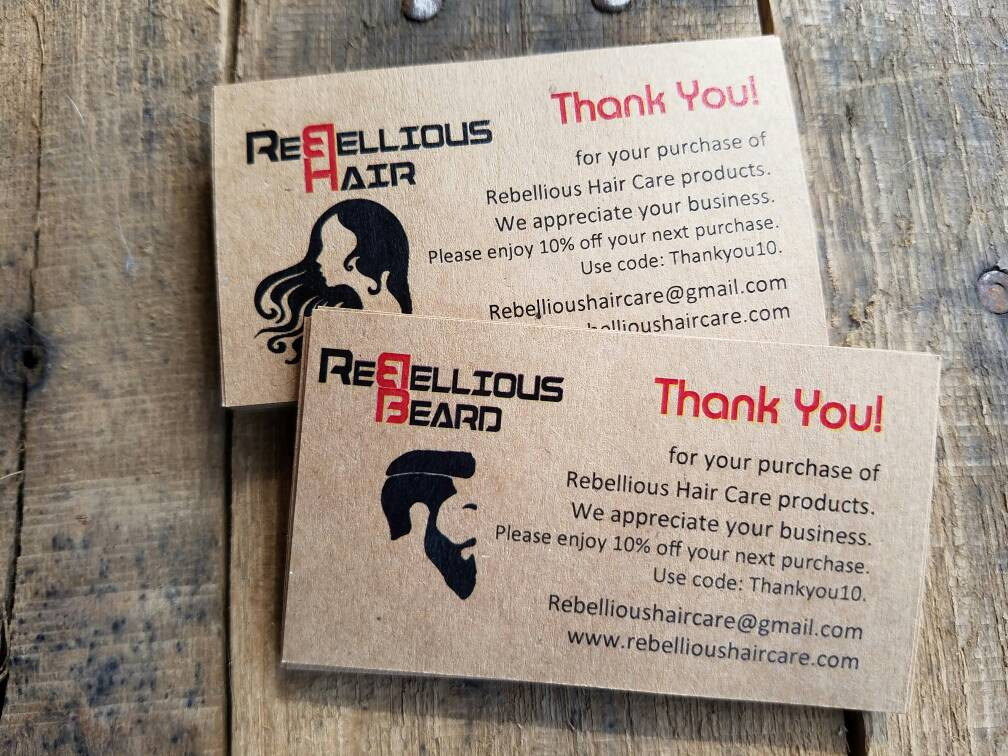 Custom Hair Nail Salon Beauty Salon Thank You Cards Promo Etsy