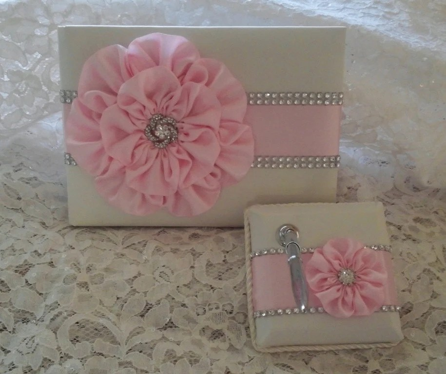 Ivory Satin Wedding Guest Book with Light Pink Flower and Etsy