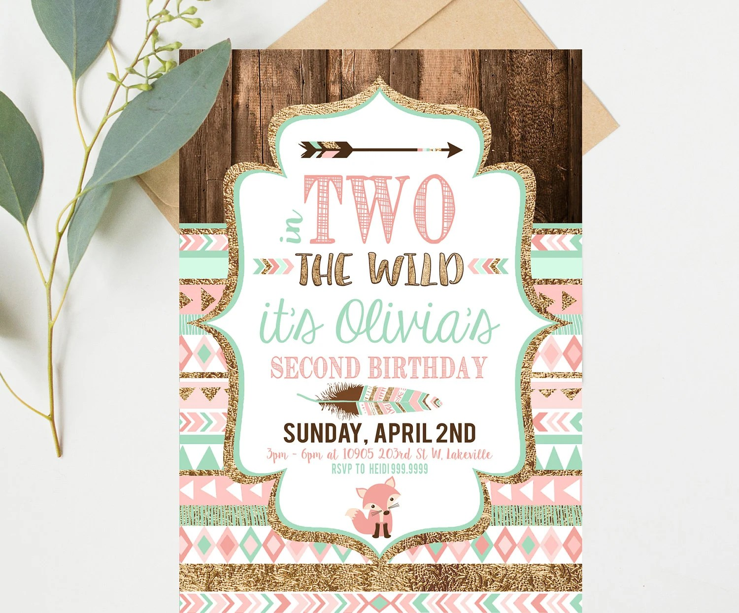 Two Wild Birthday Invitations - Pink and Mint - Second 2nd Birthday