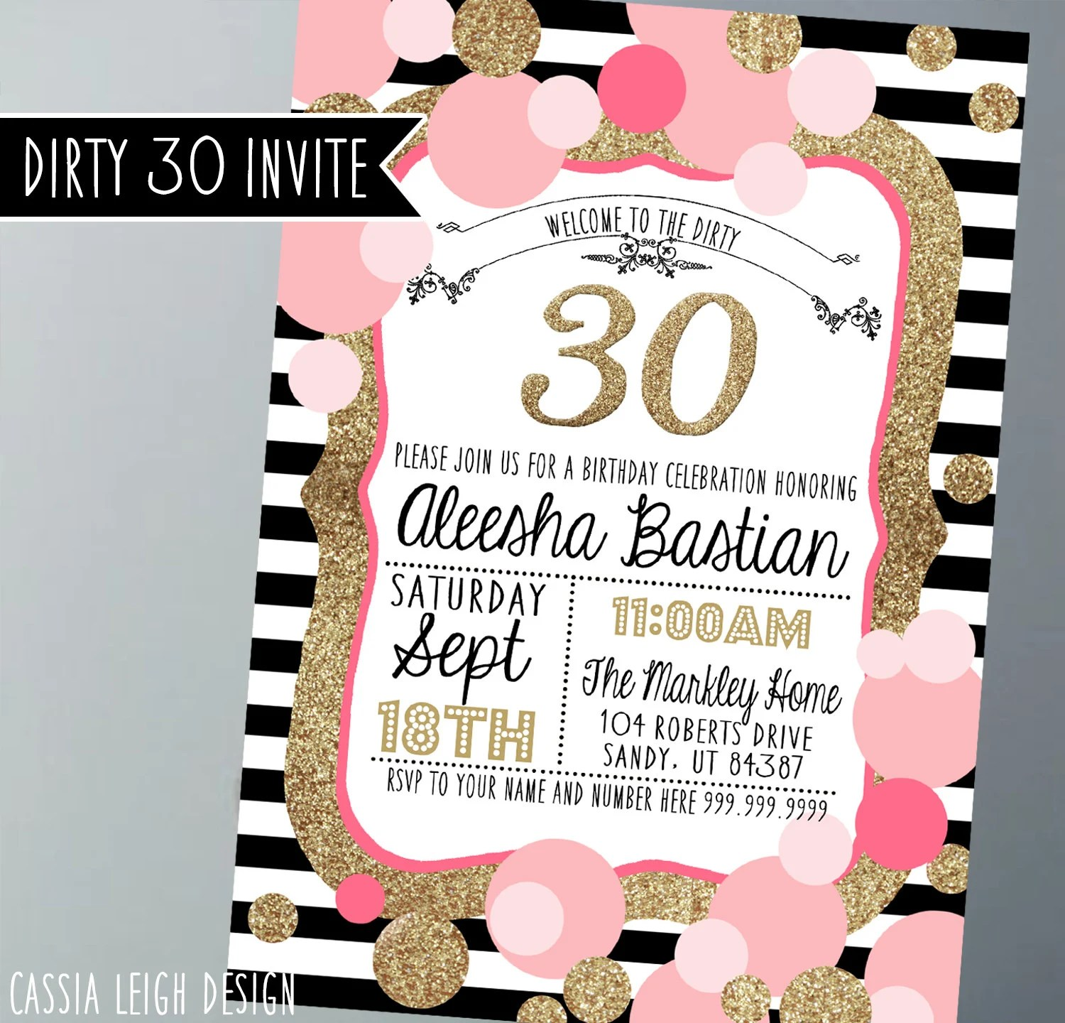 Printable Birthday Party Invitations Gold pink black and Etsy