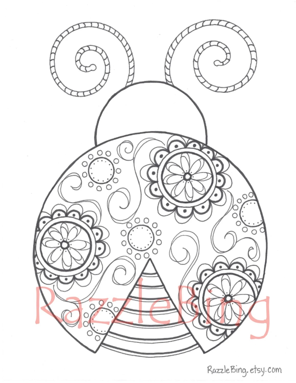 DIY Printable Coloring Page-Zentangle inspired Lady Bug Etsy
