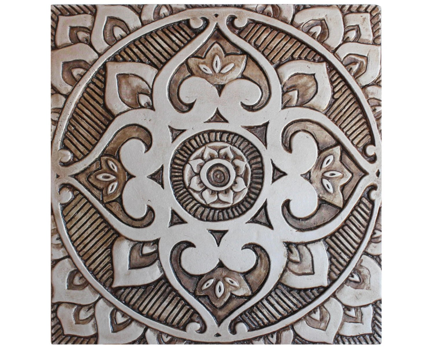 Bagno Design Guatemala Mandala Wall Art Made From Ceramic Exterior Wall Art Mandala Art Mandala Wall Hanging Handmade Tile Mandala3 Silver