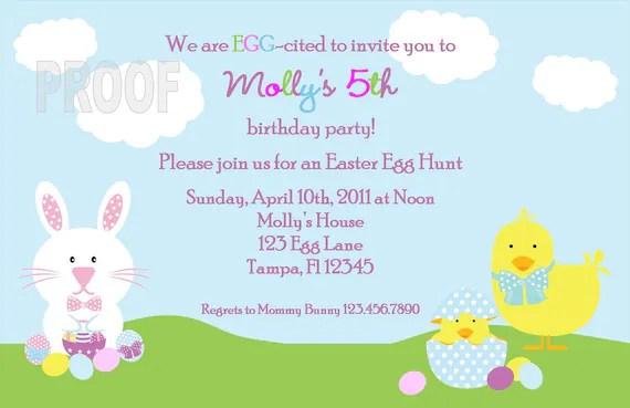 Easter Egg Hunt Or Birthday Party Custom Invitation Etsy