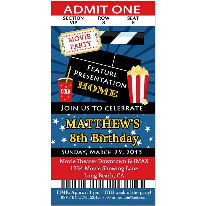 Movie Ticket Invitation Printable or Printed with FREE SHIPPING