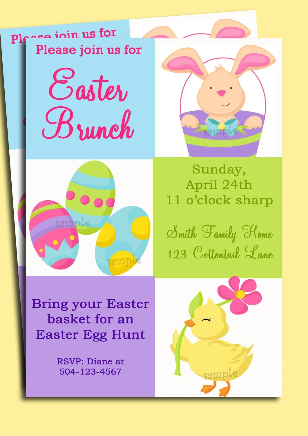 Easter Invitation Printable or Printed with FREE SHIPPING Etsy