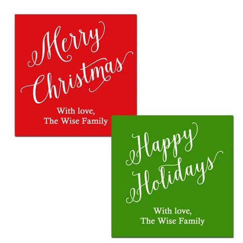 Personalized Christmas Happy Holidays Gift Tags - Printable or