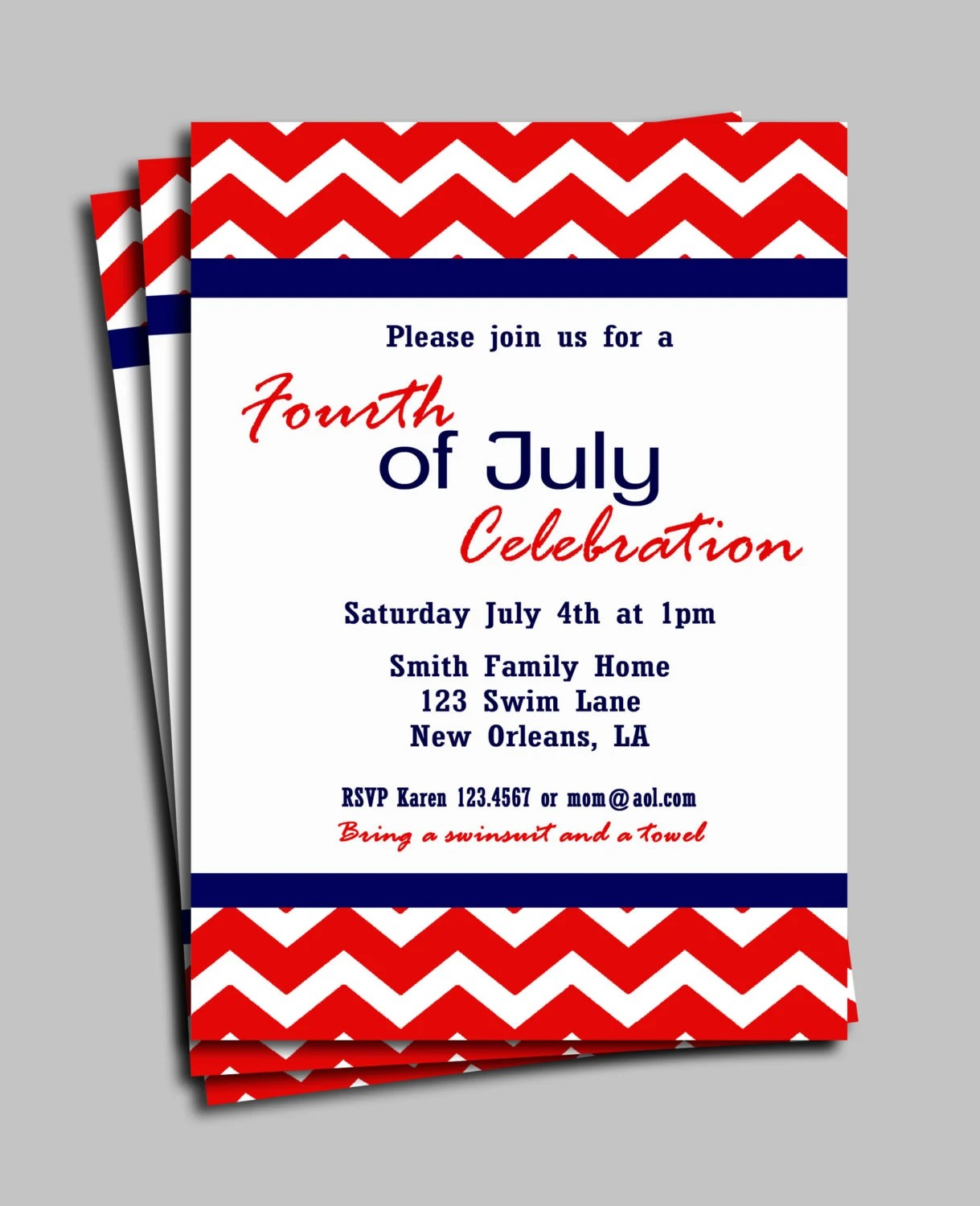 Red Chevron Invitation Printable or Printed with FREE SHIPPING
