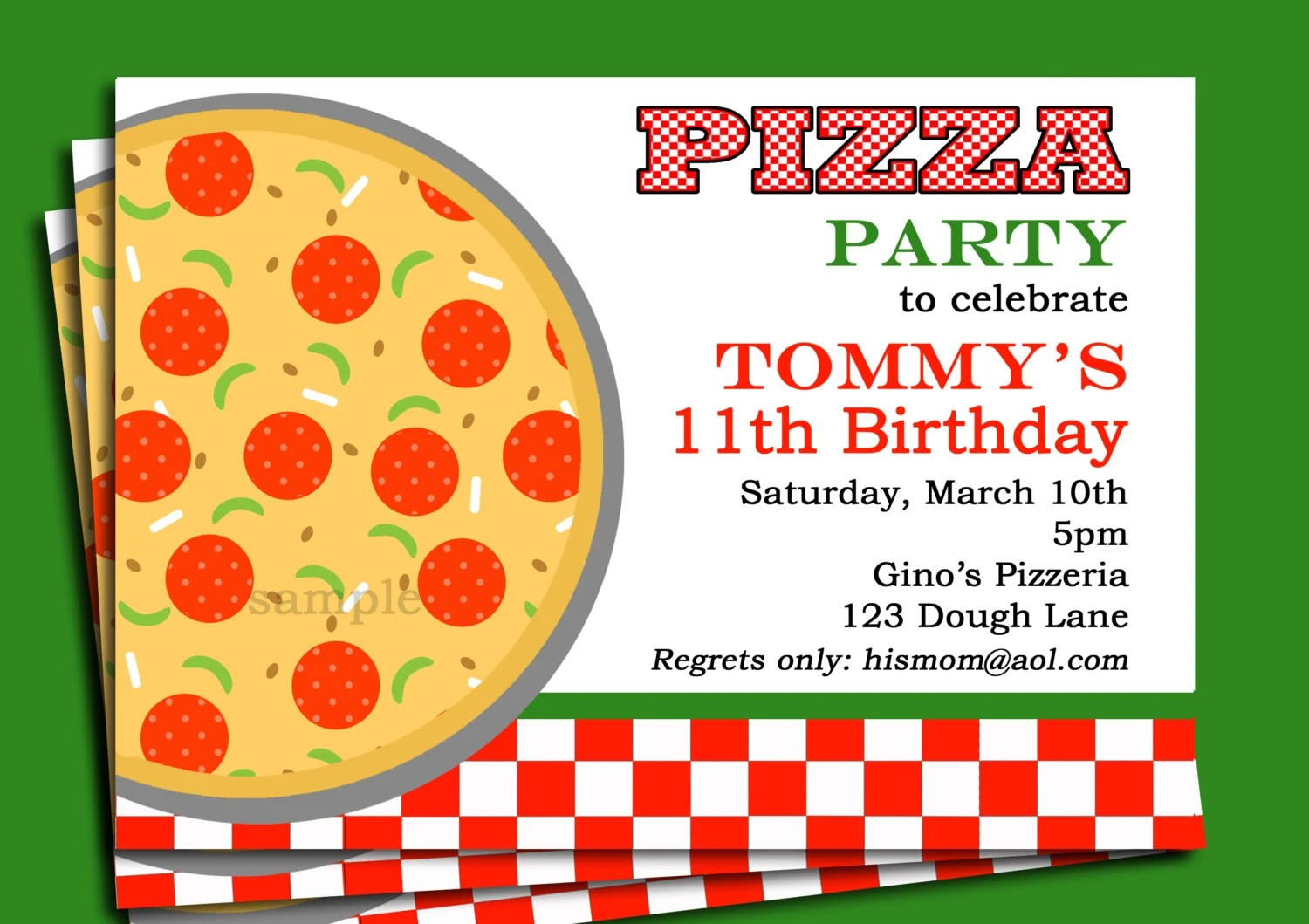 Pizza Party Invitation Printable or Printed with FREE SHIPPING Etsy