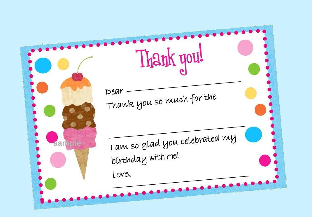 Ice Cream Thank You Note Fill In Instant Download - Ice Cream